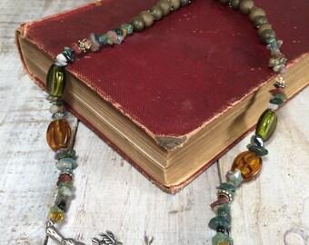 Assemblage Necklace, Birds on Branch, Beaded Necklace - Bird Necklace, Bird Jewelry, Bird Branch, Bird Tree Branch Necklace, 2 Birds Nest