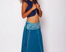 Summer Spring Skirt , Hippie Skirt , Tribal Skirt , Long Goddess Skirt , Cotton Skirt , Maxi Skirt , Turquoise