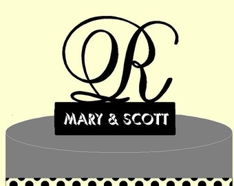 Custom Wedding Cake Topper -Letters A B C D E F G H I J K L M N O P Q R S T U V W X Y Z and First or Last Names.  Letter A shown.