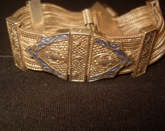 Russian Turkish Sterling Silver Enamel Bracelet