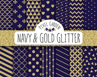 Navy and Gold Glitter Digital Paper Pack. Quatrefoil, Polka Dot, Triangle Scrapbooking Paper. Blue Digital Paper. Gold Glitter Pattern.