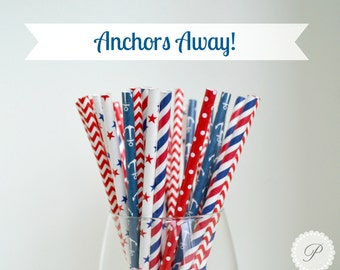 ANCHORS AWAY // 4th of JULY Paper Straws // Polka Dots - Stars - Stripes - Anchors - Chevron // 5 Designs