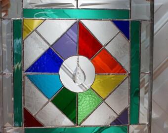CRYSTAL BEAUTY rainbow Stained glass panel window suncatcher ,Genuine crystal, GORGEOUS