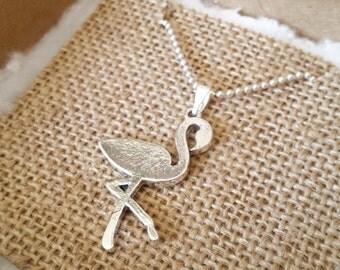Flamingo necklace - Silver plated ballchain with flamingo pendant