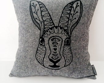 "Scandinavian Rabbit cotton / linen hand screen printed pillow / cushion cover 14""x14"". Black + white stripes, decorative textile."