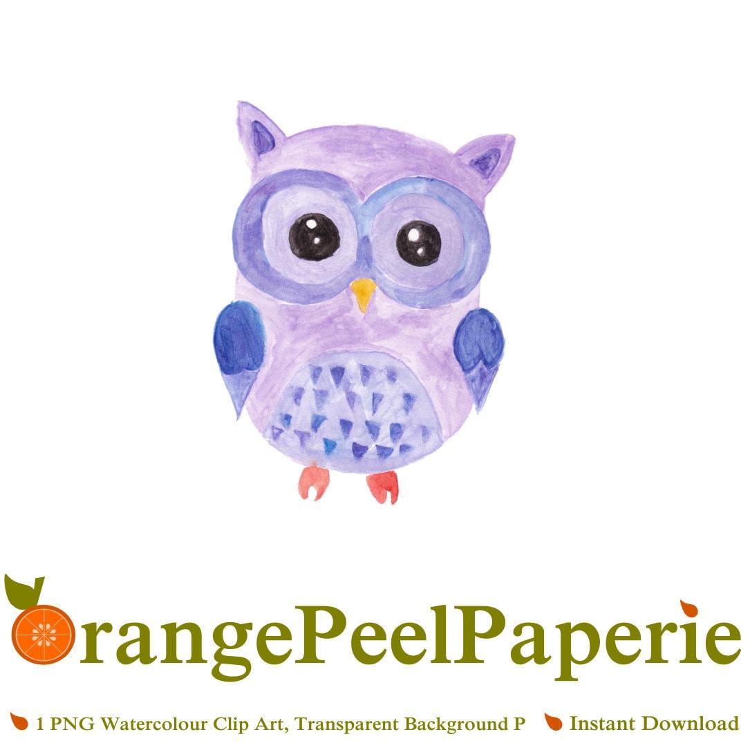 Purple Owl Clip Art, Owl Purple Clipart, Watercolor ...