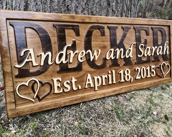 Personalized Anniversary Gift Custom Carved Wooden Signs Wood Wedding Gifts Personalized Last Name Decor Established Sign Carved Wood Plaque