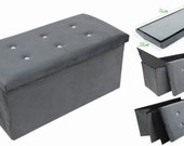 Large grey velour ottoman storage toy box foot stool storage ottoman pop up box toy blanket storage box foot stool