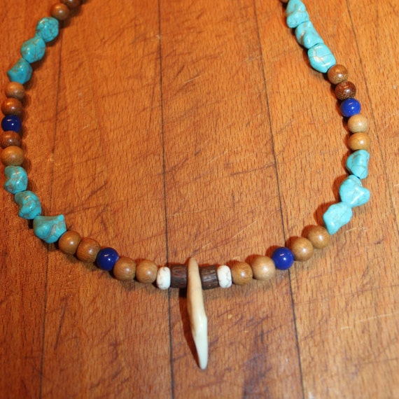 "Wolf Tooth Necklace 18"". Blue & White Turquoise Blue Topaz Wood. African.Native American Tribal Spiritual Healing"