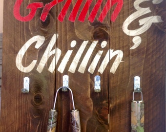 Grillin & Chillin Wood Patio Sign,wood grill sign,grill utensil holder,outdoor sign,organization/tool storage,outdoor sign,gift for dad