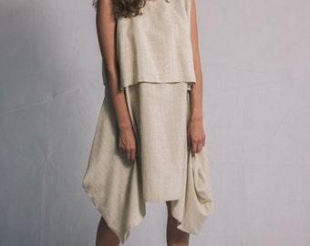 Beige lagenlook dress / Woman's beige summer dress / Asymmetric linen woman's dress / Sleeveless knee dress / Fasada 1537