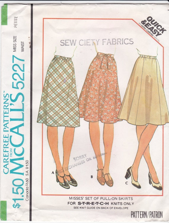 flared or a line skirt knit pull on skirts mccall s sewing
