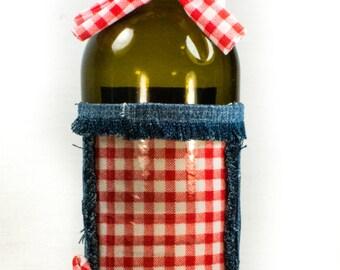 Hand Crafted Picture Frame Wine Bottle Vase. Denim & Gingham. Home/Wedding Decor