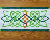 Green Batik Celtic Knot Table Runner / Wall Banner Dresser Scarf