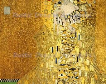 "Gustav Klimt  ""Adele Bloch-Bauer""  1907 Reproduction Digital Print Art Nouveau Woman in Gold Third Eye Spirals  Wall Hanging"