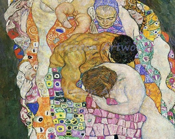 "Gustav Klimt  ""Death and Life""  1908 Reproduction Digital Print Women Men Child Life Cycle"