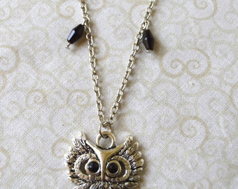 """Silver/Black Owl Key Long  33 1/2"""" Pendant Necklace with Beads"""