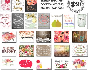 Assorted Greeting Card Pack  for all Occassion- Set of 30 Cards with Envelopes