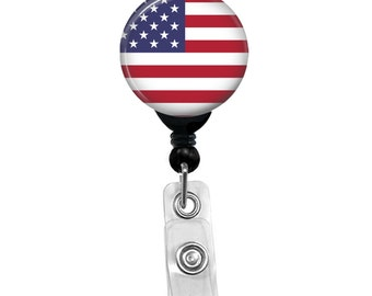 USA American Flag Badge Reel Patriotic Fourth Of July Name ID Card Badge Holder