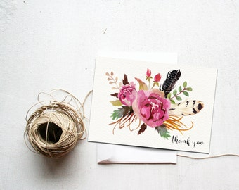 Thank You Card Printable Instant Download, Floral Feathers, Matching, Bridal Shower Thank Yous, Watercolor, Fall Wedding, DIY Thanks