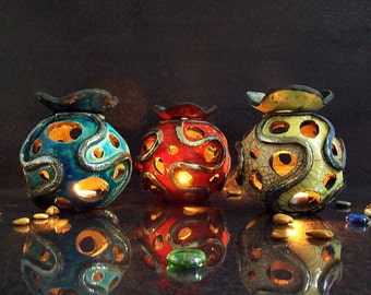 ceramic Essential Oil Diffuser and Luminary, Candle holder raku, Aromatherapy Diffuser, essence burner, tealight lantern, candle holder