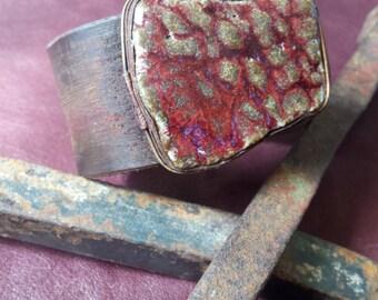 leather cuff bracelet red burgundy glazed ceramic brass statement bohemian boho texture gypsy tribal jewelry