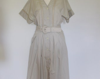 Vintage dress 1980's does 1950's Shirt style button down dress by Willow Size medium UK12