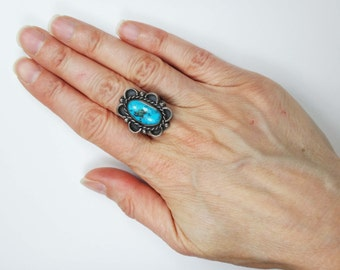 Vintage Turquoise Sterling Silver Ring Sterling Mexico Turquoise Ring Turquoise Ring Statement Ring Vintage Turquoise Ring Genuine Turquoise