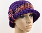 Boho Lyn Purple Hat Dark Purple Cloche Button Up Brim Hat Winter Fall Fashion Women Adult Crochet Hat Eggplant Boho Hat Custom Orders