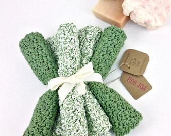 Classic Kitchen Dishcloth Set of Five Sage Green Washcloth Cotton Green Knit Dishcloth Crochet Dish Cloth Handmade Cotton Kitchen Accessory