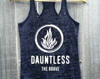 DAUNTLESS THE BRAVE Fire Logo Athletic Burnout Racerback Tank Top
