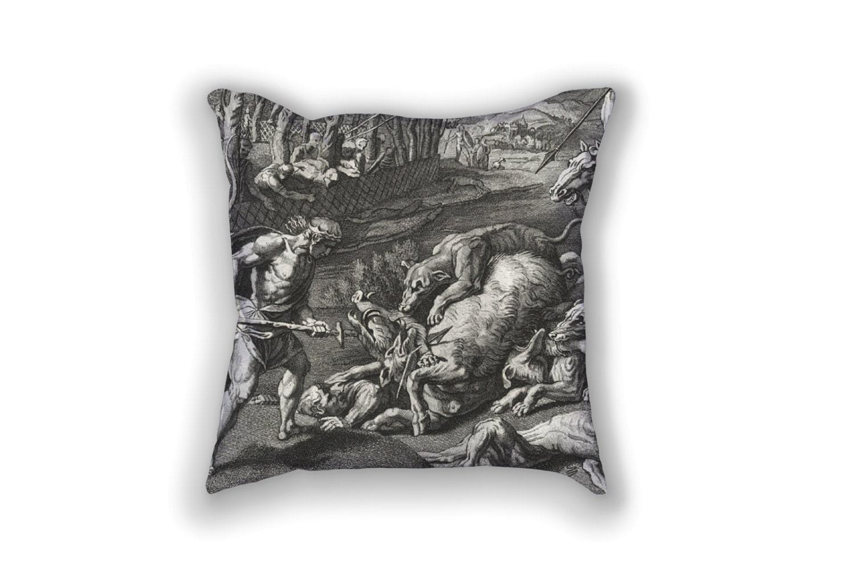 Decorative Pillow - Meleager et Atalanta Antique Print Throw Pillow - Home Decor Accent Pillows ...