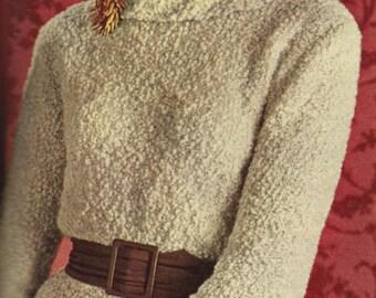 Vintage 1961 Knitting Pattern Ladies Boucle Dress (3 Sizes) - digital download