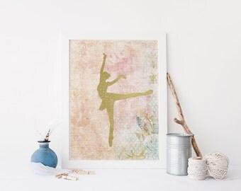 PRINTABLE Art Ballerina Art Print Ballet Art Print Pink Ivory Ballerina Nursery Decor Dancer Art Print Dancer Wall Art Ballerina Poster