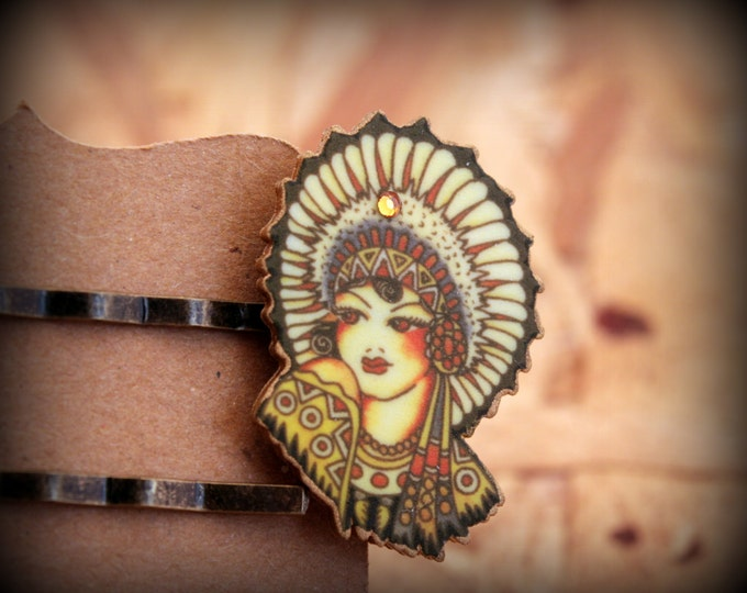 Native American Hair Pin - Indian Hairpin - Native American Woman - Vintage Tattoo - Blue - Red - Yellow - Hairpin - Shink Plastic