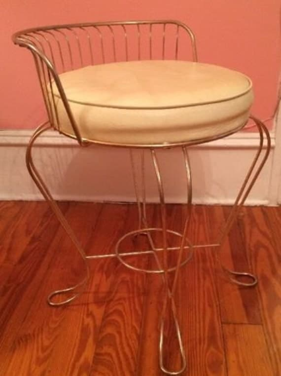 Vintage Gold Metal Wire Vanity Chair White By Antiquesviaayala