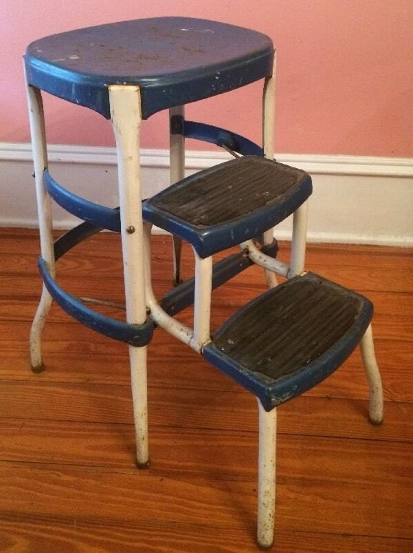 Cosco Metal Blue Step Stool Chair Ladder By Antiquesviaayala