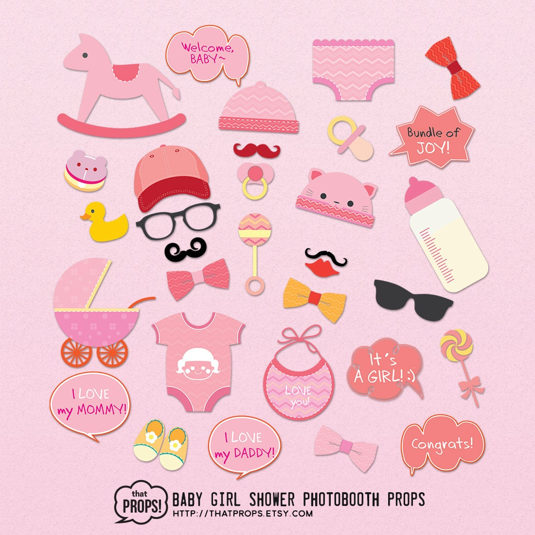 girl baby shower photo booth props digital instant by thatprops
