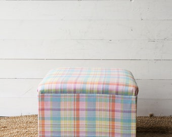 Upholstered Footstool Ottoman Pouffe Square Shape Check Linen Fabric