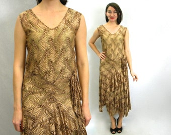 1920s Gold Lace Evening Dress | Formal Evening Dress | Downton Abby | Small