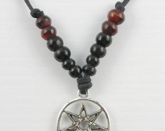 Heptagram pendant etsy boho beaded surfer necklace with an heptagram septagram pendant unisex adjustable size aloadofball Choice Image