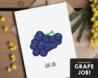 Grape Job - Congratulations card | Well done card | Congrats | Good job card | Proud of you Greetings card | Great news Simple retro pop art