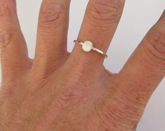 Silver Disc Ring, Skinny Hammered Ring, Minimalist Ring, Dainty Dot Ring, 925 Sterling Silver Ring, Disc Stacking Ring, Gift For Her