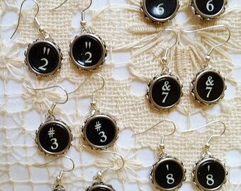Number Typewriter Earrings, Number Key Earrings, Antique Typewriter Key Number Keys, Dangle Number Earrings, Black 0, 2, 3, 4, 5, 6, 7, 8, 9