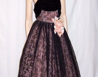 Superb Pink and Black Flocked Ball Gown, 1930's Vintage