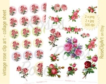 digital rose clipart - vintage rose clusters - collage sheets - instant download - commercial use allowed - pink vintage roses - stickers