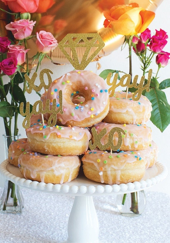 Diamond donut toppers for the newly engaged