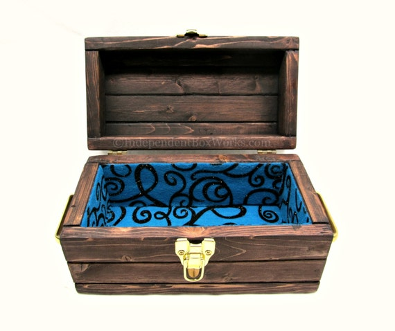 Handcrafted rustic wooden small storage box with lid and blue - Small rustic wooden boxes ...