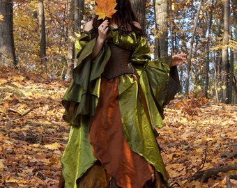 Q&I Renaissance Medieval Fall Faerie Woodland Autumn Fairy Costume