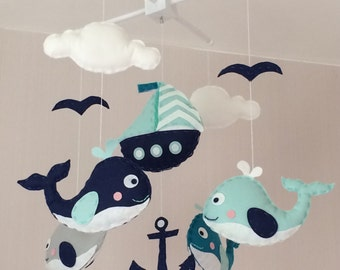 Baby mobile - Crib mobile - Cot mobile - nautical baby mobile - whales mobile - Cloud mobile